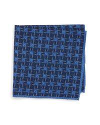 Ted Baker   Blue Grid Wool Pocket Square for Men   Lyst