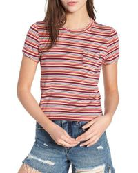 Obey - Red Freeman Stripe Tee - Lyst