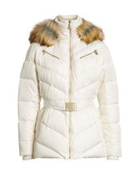 Vince Camuto | Natural Belted Down & Feather Fill Coat With Faux Fur Trim Hood | Lyst