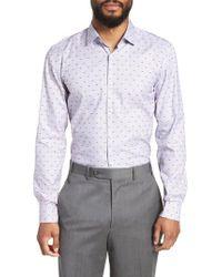 BOSS - Blue Ismo Slim Fit Dot Dress Shirt for Men - Lyst