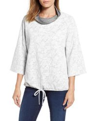 Chaus - Gray Floral Terry Cowl Neck Top - Lyst