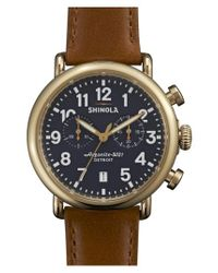 Shinola - Brown 'the Runwell Chrono' Leather Strap Watch for Men - Lyst