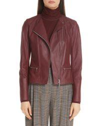 e40f518d678 Lyst - Lafayette 148 New York Trista Lambskin Leather Jacket in Red