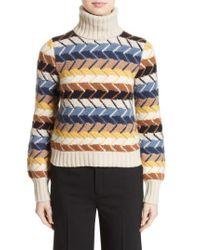 Chloé | Blue Herringbone Wool & Cashmere Turtleneck Sweater | Lyst