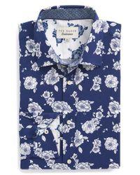 Ted Baker - Blue Trim Fit Floral Dress Shirt for Men - Lyst