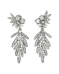 Oscar de la Renta | Metallic Tropical Palm Drop Clip Earrings | Lyst