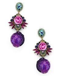 Elizabeth Cole - Purple Octavia Drop Earrings - Lyst