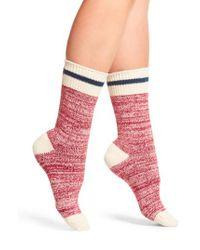 Free People | Red Albury Crew Socks | Lyst