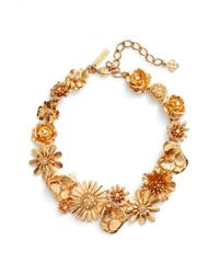 Oscar de la Renta - Metallic Gilded Floral Collar Necklace - Lyst