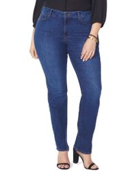 NYDJ Blue Marilyn High Rise Straight Leg Jeans