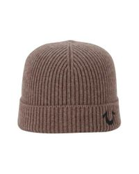 True Religion | Brown Rib Knit Cap for Men | Lyst