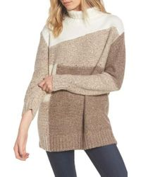 French Connection - Brown Anna Patchwork Turtleneck - Lyst