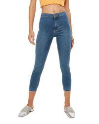 TOPSHOP - Blue Joni Moto Raw Hem Jeans - Lyst