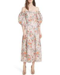 Rebecca Taylor - Pink Marlena Off The Shoulder Floral Midi Dress - Lyst