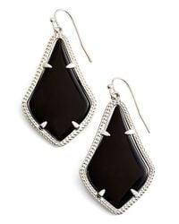 Kendra Scott - 'alexandra' Agate Drop Earrings - Rhodium/ Black Opaque Glass - Lyst