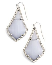 Kendra Scott - Metallic 'alex' Drop Earrings - Rhodium/ Slate Cats Eye - Lyst