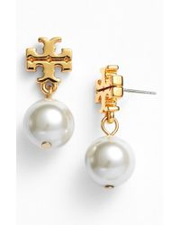 Tory Burch | Metallic Faux Pearl Drop Earrings | Lyst