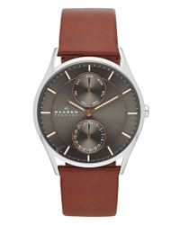 Skagen | Gray 'holst' Multifunction Leather Strap Watch for Men | Lyst
