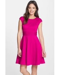 Eliza J   Pink Pintucked Waist Seamed Ponte Knit Fit & Flare Dress   Lyst