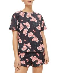 TOPSHOP - Black Rose Pajama Top - Lyst