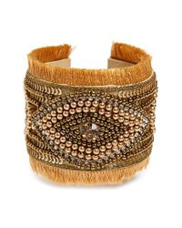 Panacea - Metallic Beaded Fringe Cuff Bracelet - Lyst