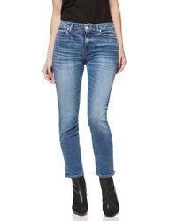PAIGE - Blue Hoxton Transcend Vintage High Waist Ankle Straight Leg Jeans - Lyst