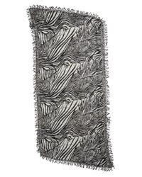 La Fiorentina - Black Animal Print Wool Scarf - Lyst
