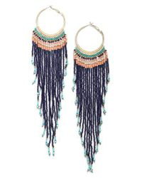 Nakamol - Blue Aban Beaded Tassel Hoop Earrings - Lyst