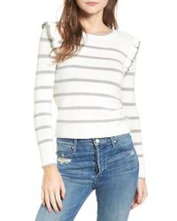 Cupcakes And Cashmere - White Bryant Ruffle Stripe Sweater - Lyst
