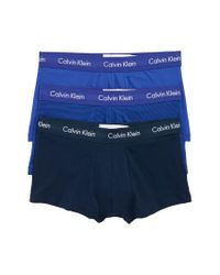 CALVIN KLEIN 205W39NYC - 3-pack Stretch Cotton Low Rise Trunks, Blue for Men - Lyst