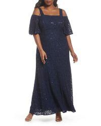 Alex Evenings - Blue Embellished Lace Cold Shoulder Gown - Lyst