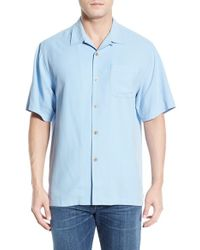Tommy Bahama | Blue 'catalina Twill' Original Fit Silk Camp Shirt for Men | Lyst
