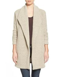James Perse | Gray Open Drape Boucle Cardigan | Lyst
