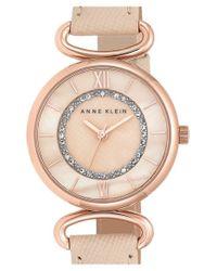 Anne Klein | Pink Leather Strap Watch | Lyst