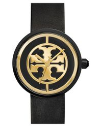 Tory Burch - Metallic 'reva' Logo Dial Leather Strap Watch - Lyst