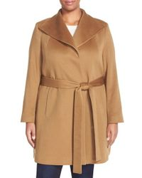 Fleurette   Brown Wing Collar Cashmere Wrap Coat   Lyst