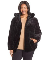 Gallery | Black Grooved Faux Fur Hooded Jacket | Lyst