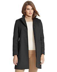 Lauren by Ralph Lauren | Black Wool Blend Reefer Coat | Lyst