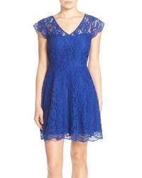 BB Dakota | Blue 'reece' Lace Fit & Flare Dress | Lyst