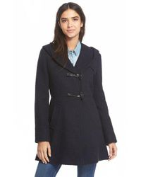 Jessica Simpson | Blue Hooded Basket Weave Duffle Coat | Lyst