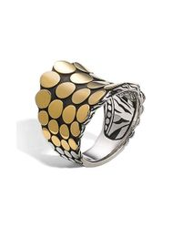 John Hardy | Metallic 'dot' Gold & Silver Saddle Ring | Lyst