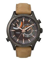 Timex | Brown Timex 'intelligent Quartz' Leather Strap Watch for Men | Lyst