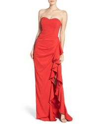 Badgley Mischka - Red Ruffled Side Crepe Gown - Lyst