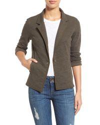 Caslon - Gray One-Button Cotton Blazer - Lyst
