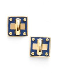 Marc By Marc Jacobs | Blue 'turnlock' Enamel Stud Earrings | Lyst