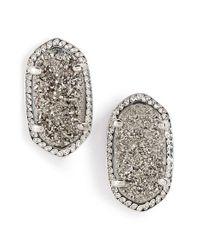 Kendra Scott | Metallic 'ellie' Oval Stone Stud Earrings | Lyst