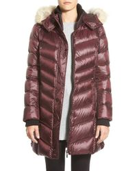 Bernardo | Purple Hooded Down & Primaloft Coat With Genuine Coyote Fur Trim | Lyst