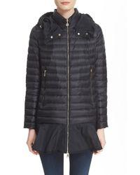 Moncler | Black 'daurade' Water Resistant Peplum Hem Hooded Down Puffer Jacket | Lyst