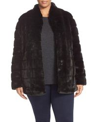Ellen Tracy | Black Grooved Faux Fur Coat | Lyst