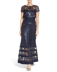 Tadashi Shoji   Blue Sequin Lace Blouson Gown   Lyst